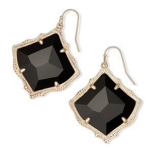 Kendra Scott Kirsten Gold Drop Earring Black Glass